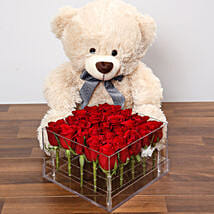 Dreamy Red Rose Box With Teddy Bear: Send Birthday Gifts to UAE