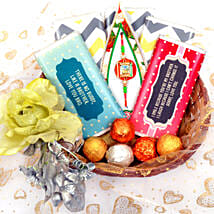 Elegant Basket with Chocolate Bars: All Rakhi UAE
