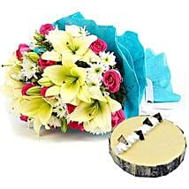 Elegant Bouquet with Cake: Send Flowers to Sharjah