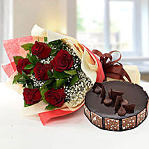 Elegant Rose Bouquet With Chocolate Fudge Cake: Anniversary Flower N Cake to UAE