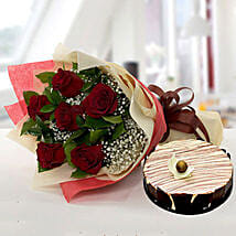 Enchanting Rose Bouquet With Marble Cake: Anniversary Flowers and Cakes to UAE