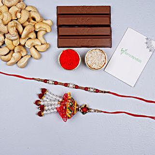 Fancy Bhaiya Bhabhi Rakhi Set With Cashews And Choco: Rakhi With Dry Fruits to UAE