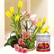 Floral Cage Arrangement and Gulab Jamun Combo: Mother's Day Flower and Sweets to UAE
