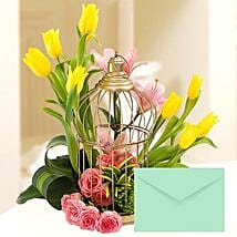 Floral Cage Arrangement With Greeting Card: Mother's Day Flower and Cards to UAE
