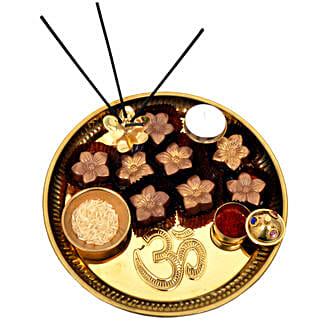 Golden Brown Raksha Bandhan Tray: Rakhi and Chocolates to Dubai