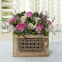 Graceful Rose Wooden Arrangement: Send Mother's Day Gifts to UAE