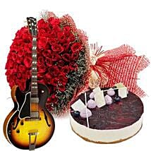 Grand Celebration with Cake: Flowers & Guitarist Service UAE