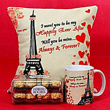 Happily Ever After Printed Cushion and Mug Combo: Valentine's Day Gift Delivery in UAE