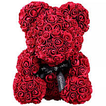Maroon Artificial Roses Teddy Bear: Valentine's Day Gift Delivery in Al Ain