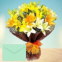 Mixed Lilies Bouquet With Greeting Card: Birthday Bouquets for UAE