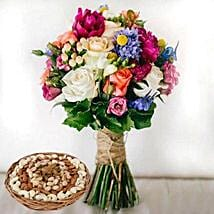 Mixed Roses Bouquet and Dry Fruits Combo: Mother's Day Flower and Dry Fruits to UAE