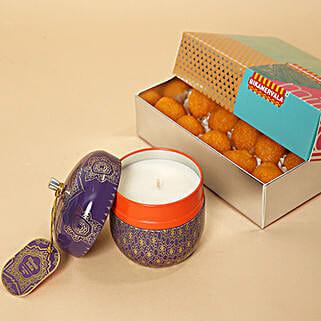 Motichoor Laddoo and Decorative Diya Combo: Send Diwali Sweets to UAE