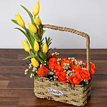 Orange Roses and Yellow Tulips Basket: Same Day Rose Delivery in UAE