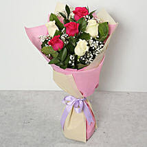 Pink and White Roses Bouquet: Birthday Bouquets for UAE