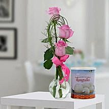 Pink Roses Arrangement and Rasgulla Combo: Sweet Delivery in UAE