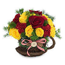 Radiant Red N Yellow Roses Arrangement: Christmas Gifts to UAE