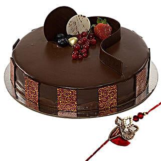 Rakhi with Chocolate Truffle Cake: Send Rakhi to Dubai