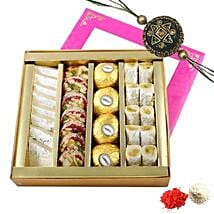 Rakhi with Mixed Sweets Box: Rakhi for Brother in UAE