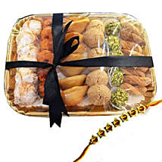 Rakhi with Sweet Platter: Send Rakhi to UAE - Free Shipping