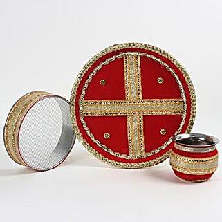 Red and Golden Karwa Thali Set: Send Karwa Chauth Gifts to UAE