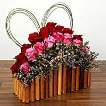 Red and Purple Roses In A Wooden Base: Valentine's Day Flowers to UAE