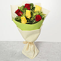 Red and Yellow Roses Bouquet: Birthday Bouquet to UAE