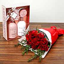 Red Roses and Grooming Kit Combo: Rose Day Gifts to UAE