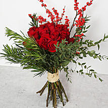 Red Roses and Ilex Berries Bouquet: Birthday Bouquet to UAE