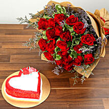 Red Roses and Vanilla Cake Combo: Send Flowers and Cakes to UAE