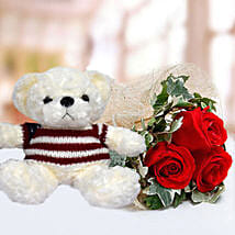 Red Roses and White Teddy Combo: Send Soft Toys to UAE