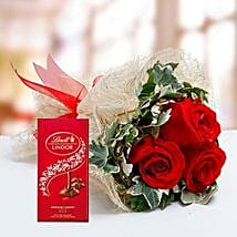 Red Roses Bouquet and Lindt Chocolate Combo: Best Chocolates in Dubai, UAE