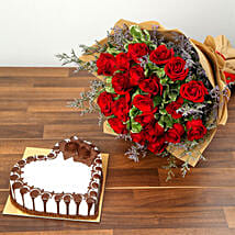 Rose Bouquet and Chocolate Cake Combo: New Arrival Gifts to UAE