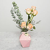 Roses and Limoniums in Ceramic Pot: Same Day Rose Delivery in UAE