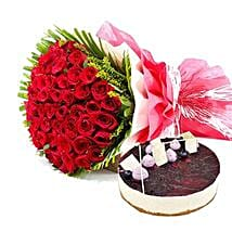 Roses n Blueberry Cheese Cake: Send Flowers and Cakes to UAE