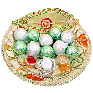 Small Raksha Bandhan Tray: Rakhi With Chocolates to UAE