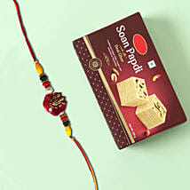 Sweet Soan Papdi and Designer Rakhi Combo: Send Rakhi to Al Ain