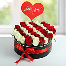 White N Red Roses Love Proposal Arrangement: Flower Delivery in UAE