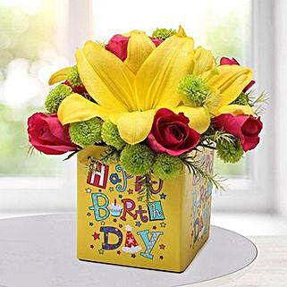 Yellow N Pink Birthday Flower Arrangement: Order Gifts for Boys in UAE