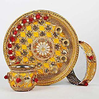 Yellow Steel Thali Combo For Karwa Chauth: Karwa Chauth Presents to UAE