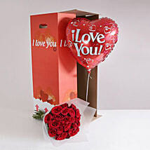 24 Burgundy Roses I Love You Gift Set: Send Flowers to UK