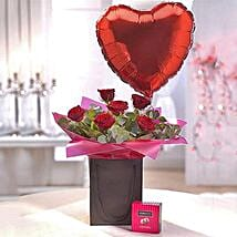 Be Mine Chocolate and Balloon Gift Set: Send Wedding Gifts to UK