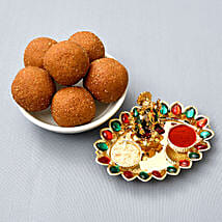 Besan Laddoo And Puja Thali Combo: Bhai Dooj Gifts to London