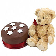 Chocolate Star Cake With Bear: Send Cakes Oxford
