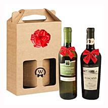 Classic Dual Italian Wines: Valentine Baskets Delivery in UK