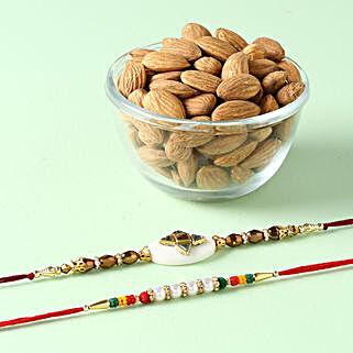 Colorful Rakhi Combo With Almonds:
