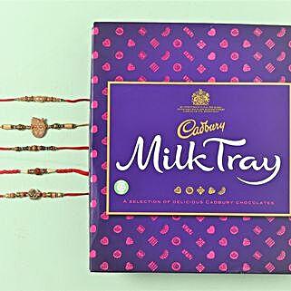 Desginer Family Rakhi Set Chocolate Hamper: Set of 5 Rakhi to UK