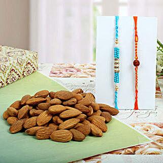 Diamond Rudraksh with Almond Nuts: Rakhi With Dryfruits UK