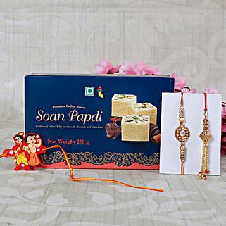 Family Rakhi with Soan Papdi Sweet: Rakhi for Bhaiya Bhabhi UK