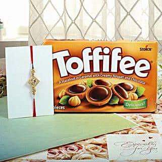Hazelnut Toffiee Diamon Square Rakhi: Rakhi With Chocolates UK