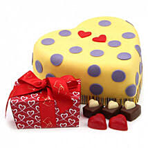 Hearts And Dots Cake Gift: Send Birthday Cakes to London